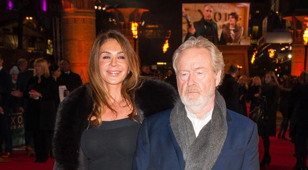 Ridley Scott (right) and his wife Giannina Facio arriving at the world premiere of Exodus: Gods and Kings