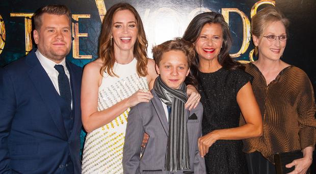 Emily Blunt and Meryl Streep star in Into The Woods, alongside James Corden, Daniel Huttlestone and Tracey Ullman