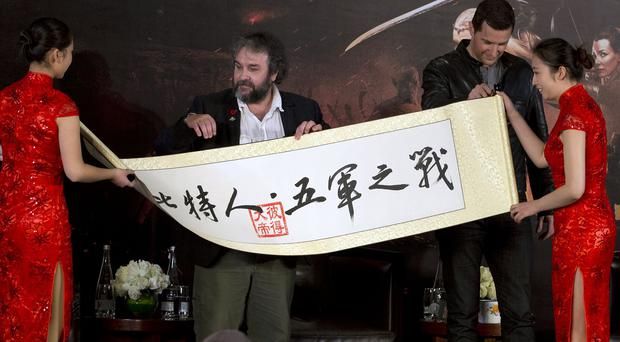 Peter Jackson has attended a premiere in China for The Hobbit: The Battle of the Five Armies