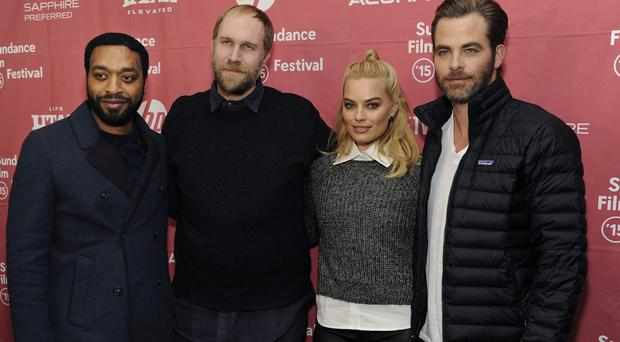 Margot Robbie with her Z For Zachariah co-stars Chiwetel Ejiofor and Chris Pine and director Craig Zobel