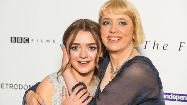 Maisie Williams (left) and director Carol Morley arriving at a screening of The Falling, in London