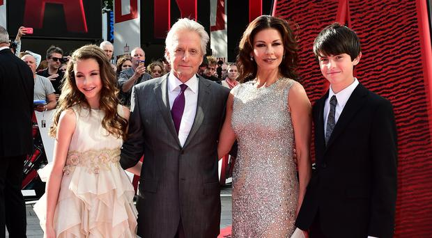 Michael Douglas with wife Catherine Zeta-Jones, son Dylan and daughter Carys at the Ant-Man premiere