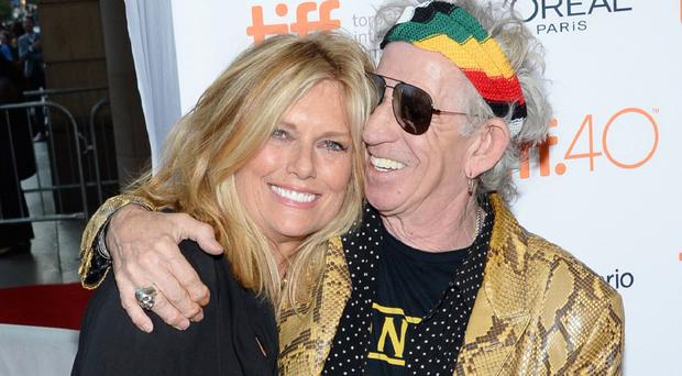 Keith Richards and Patti Hansen at the Toronto International Film Festival (AP)