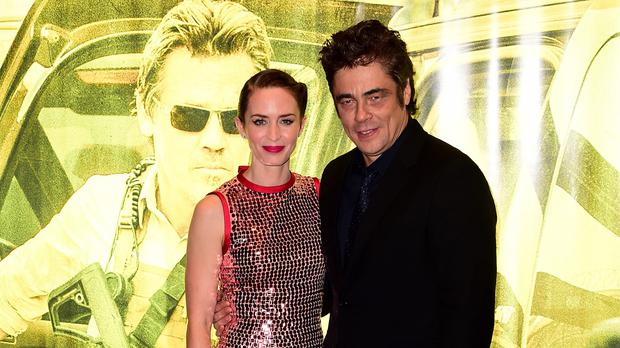 Emily Blunt and Benicio del Toro at the premiere of Sicario at the Empire Leicester Square