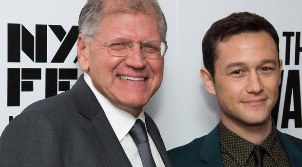 Director Robert Zemeckis, left, and Joseph Gordon-Levitt at the New York Film Festival opening night gala premiere for The Walk (Invision/AP)