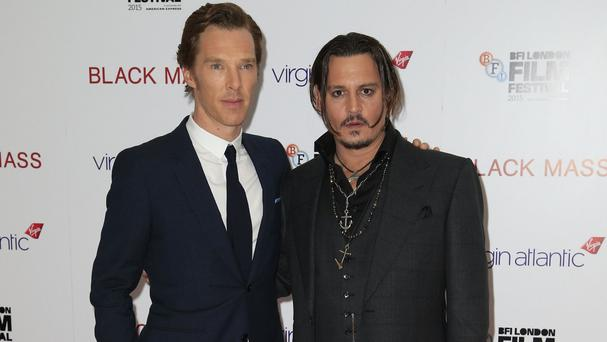 Benedict Cumberbatch,left, and Johnny Depp at the premiere of Black Mass