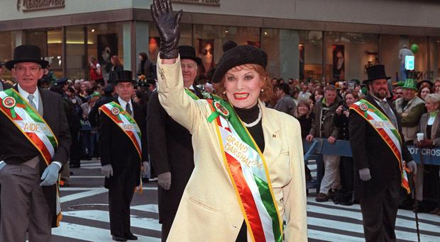 Maureen O'Hara taking part in the annual St Patrick's Day Parade in New York (AP/file)