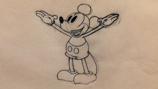 Oswald was created by Walt Disney and Ub Iwekrs in 1927 before the pair went on to create Mickey Mouse, pictured