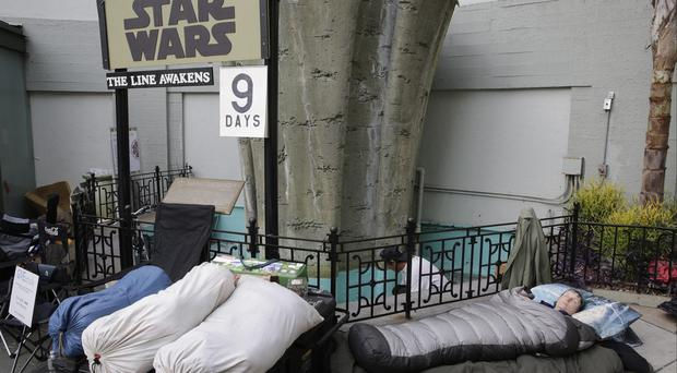Star Wars fans wait in line at the TCL Chinese Theatre in Hollywood (AP)