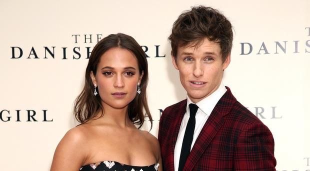 Eddie Redmayne with Alicia Vikander at the premiere of The Danish Girl in Leicester Square