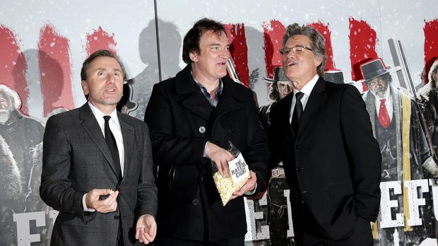 Tim Roth, Quentin Tarantino and Kurt Russell attending the premiere of The Hateful Eight at the Odeon Leicester Square, London.
