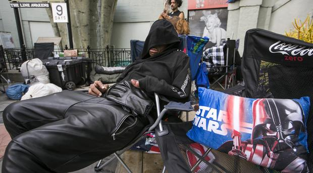 Star Wars fans have been queuing outside TCL Chinese Theatre waiting for the premiere of Star Wars: The Force Awakens in Los Angeles (AP)
