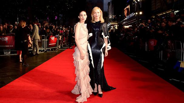 Rooney Mara and Cate Blanchett attend the Carol premiere in Leicester Square, London
