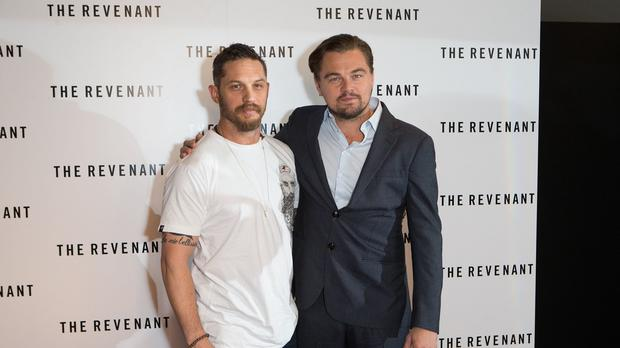 Tom Hardy (left) and Leonardo DiCaprio star in The Revenant