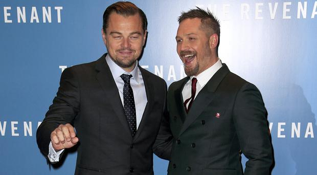 Leonardo DiCaprio and Tom Hardy attend The Revenant premiere at Empire Leicester Square, London