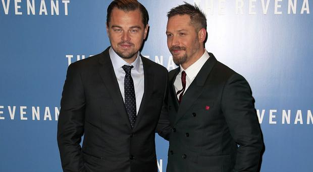 Leonardo DiCaprio, left, and Tom Hardy are both nominated in the best actor category