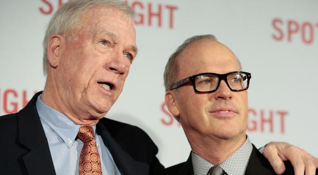 Michael Keaton, right, plays Boston Globe journalist Walter Robinson, left, in Spotlight