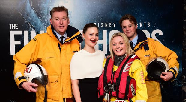 From left to right, Craig Burnett, Holliday Grainger, Jade Cohen and Rudi Barman attending a screening of The Finest Hours at the Ham Yard Hotel