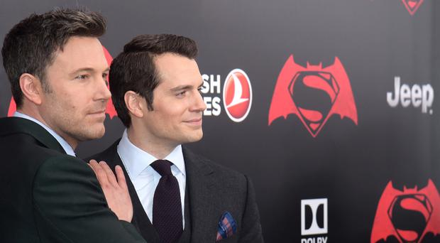 Ben Affleck and Henry Cavill at the premiere of Batman V Superman in New York (AP)