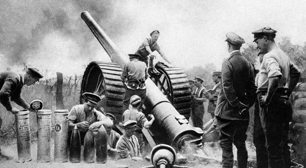 British artillery in action during the Battle of the Somme