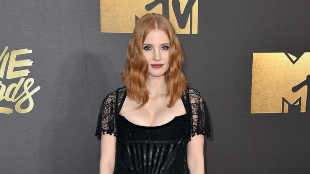 Jessica Chastain arrives at the MTV Movie Awards (AP)