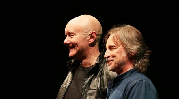 Irvine Welsh and Robert Carlyle pictured together at a book launch