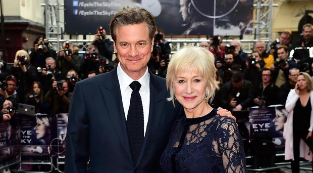 Dame Helen Mirren and Colin Firth attending the Eye In The Sky UK Premiere held at Curzon Mayfair, London.