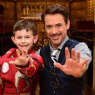 Robert Downey Jr meets seven-year-old Iron Man fan Ethan Miller at Great Ormond Street Hospital
