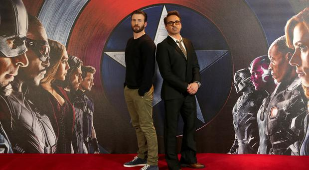 Chris Evans and Robert Downey Jr (right) attending the Captain America: Civil War photocall in London.