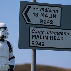 John Joe McGettigan from the Emerald Garrison, a Star Wars costuming club, in Malin Head, Co Donegal
