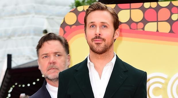 Ryan Gosling and Russell Crowe attend The Nice Guys premiere