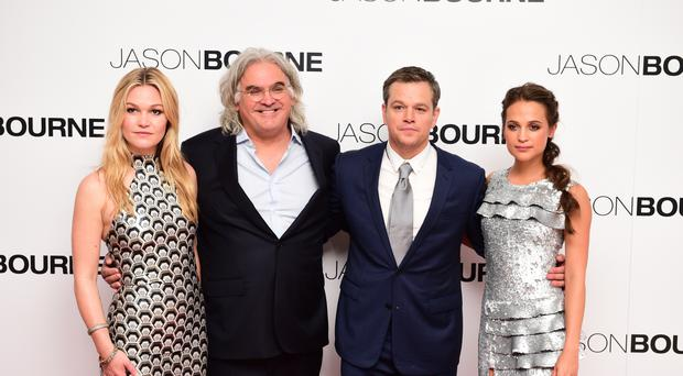 Julia Stiles, Paul Greengrass, Matt Damon and Alicia Vikander attend the European premiere of Jason Bourne at the Odeon Cinema in Leicester Square, London