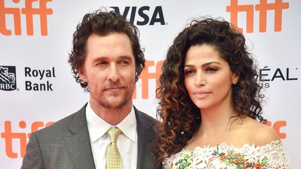 Matthew McConaughey with Camila Alves at the Sing premiere in Toronto (Invision/AP)