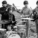 The Beatles on Salisbury Plain during the filming of Help