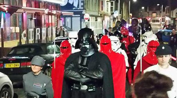 Handout photo issued by Donna Stelloo of actor Spencer Wilding dressed as Darth Vader attending the premiere of Rogue One in Rhyl