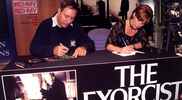 William Peter Blatty and Exorcist actress Linda Blair at a video signing
