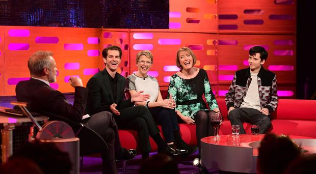 Graham Norton with guests Andrew Garfield, Annette Bening, Harriet Harman and Asa Butterfield