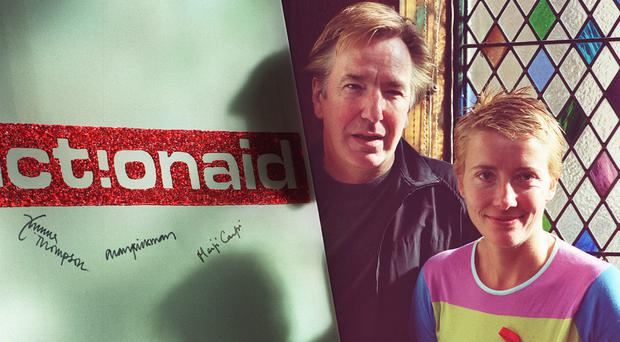 Actors Alan Rickman and Emma Thompson pictured at a charity event
