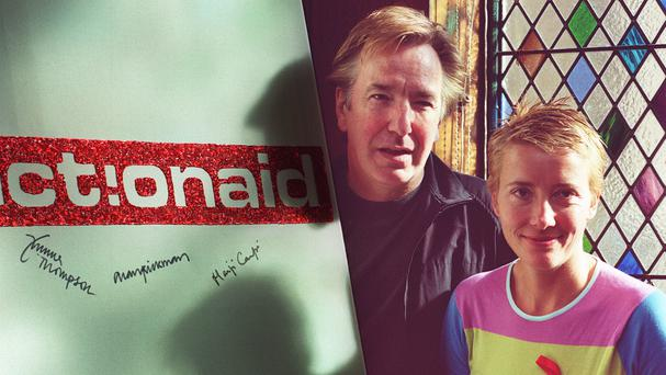 Actors Alan Rickman and Emma Thompson pictured at a charity event.