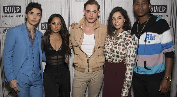Ludi Lin, from left, Becky G, Dacre Montgomery, Naomi Scott and RJ Cyler participate in the BUILD Speaker Series to discuss the new