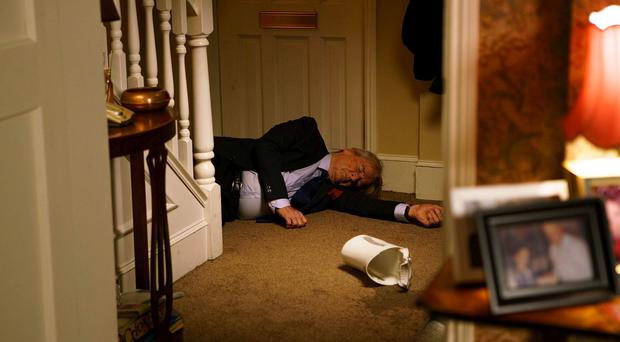 FROM ITV ***STRICT EMBARGO 2100 HOURS MONDAY MARCH 27TH 2017*** PLEASE NOTE THIS PRESS PACK IS STRICTLY FOR USE AFTER KEN IS FOUND. WE WANT THE DISCOVERY OF HIS UNCONSCIOUS BODY TO COME AS COMPLETE SURPRISE FOR THE VIEWERS. WHO PUSHED KEN? The Barlow clan are set to find themselves at the centre of a dramatic whodunnit when it is revealed that Ken did not fall down the stairs of number one - he was pushed! Millions of viewers were shocked tonight when Ken was discovered unconscious at the bottom of the stairs and the presumption was he had suffered another stroke. But as his family gather round his hospital bedside in Wednesday night's episode they are given the shock news that the police are launching an attempted murder investigation, after discovering evidence that Ken was hit on the head and pushed down the stairs. So who did try to kill Ken? The police have a list of suspects which includes a murderer, a drug dealer, a former alcoholic and a student with a history of violence, and that's just his family! Add in a builder with a grudge and a young girl who blames Ken for her aborting her baby and the cops are going to have their work cut out. Will DS McKinnon discover that Ken has fallen out with every member of his family in the weeks preceding the attack? Will she find out about the row with Phelan over the new kitchen he is fitting at number one and will Sinead be able to keep her recent meeting with Ken a secret. As the police investigation progresses McKinnon soon realises that the Barlow clan have many skeletons in their closet and any one of them could be responsible for the attempted murder. But with Phelan being the person found stood over Ken could he in fact be the attacker? Meanwhile Beth is growingly increasingly concerned at the behaviour of niece Sinead who is very outspoken about her hatred of Ken. Photographer - Mark Bruce This photograph is (C) ITV Plc and can only be reproduced for editorial purposes directly in connection with the programme or event mentioned above, or ITV plc. Once made available by ITV plc Picture Desk, this photograph can be reproduced once only up until the transmission [TX] date and no reproduction fee will be charged. Any subsequent usage may incur a fee. This photograph must not be manipulated [excluding basic cropping] in a manner which alters the visual appearance of the person photographed deemed detrimental or inappropriate by ITV plc Picture Desk. This photograph must not be syndicated to any other company, publication or website, or permanently archived, without the express written permission of ITV Plc Picture Desk. Full Terms and conditions are available on the website www.itvpictures.com