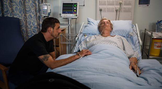 Ken Barlow in the hospital bed