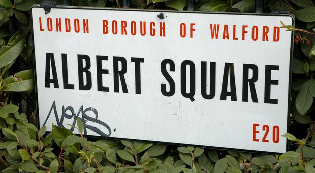 File photo dated 29/05/08. Handout photo issued by British Transport Police of graffiti on the Eastenders set in London.