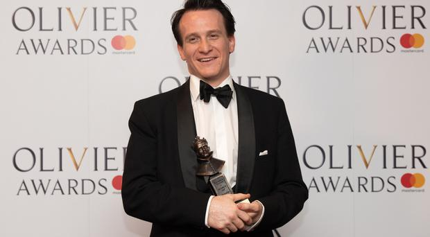 Jamie Parker with the award for best actor at the Olivier Awards 2017, held at the Royal Albert Hall in London.
