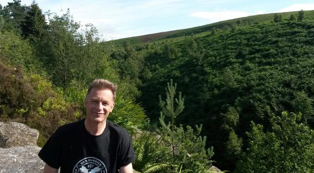 Chris Packham at a Hen Harrier Day protest in the Goyt Valley, Peak District, Derbyshire.