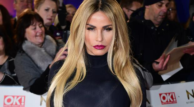 Katie Price arriving at the National Television Awards 2017, held at The O2 Arena, London. PRESS ASSOCIATION Photo. Picture date: 25th January, 2017. See PA Story SHOWBIZ NTAs. Photo credit should read: Ian West/PA Wire