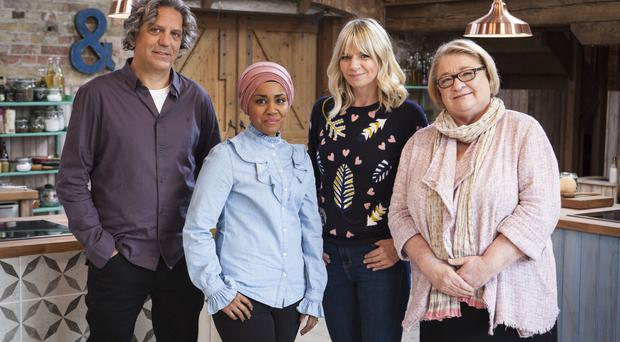 For use in UK, Ireland or Benelux countries only Undated BBC handout photo of (left to right) Giorgio Locatelli, Nadiya Hussain, Zoe Ball and Rosemary Shrager, who will appear on The Big Family Cooking Showdown, the new cooking contest set to heat things up at the BBC.