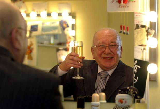 Actor Roy Barraclough celebrating his M.B.E. in December 2005. [Photo: PA]