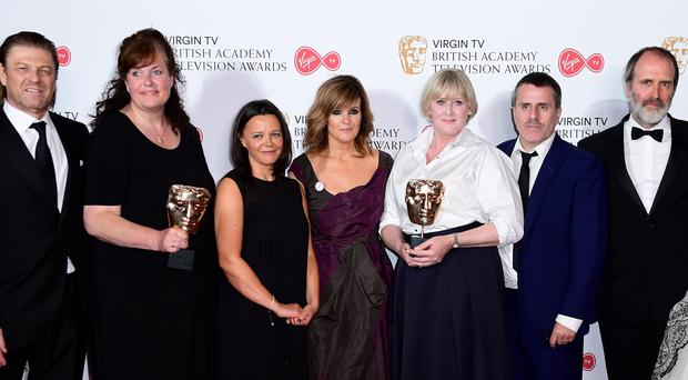 Sally Wainright with Happy Valley cast members (Ian West/PA)