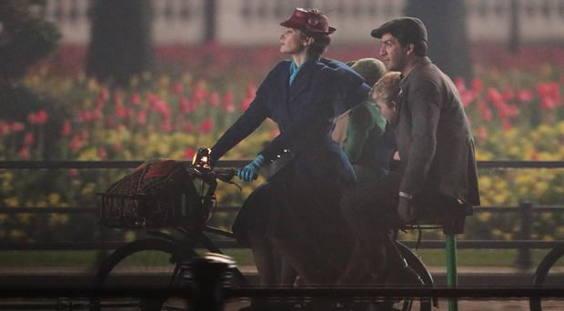 Emily Blunt has been spotted filming Mary Poppins (Yui Mok/PA)